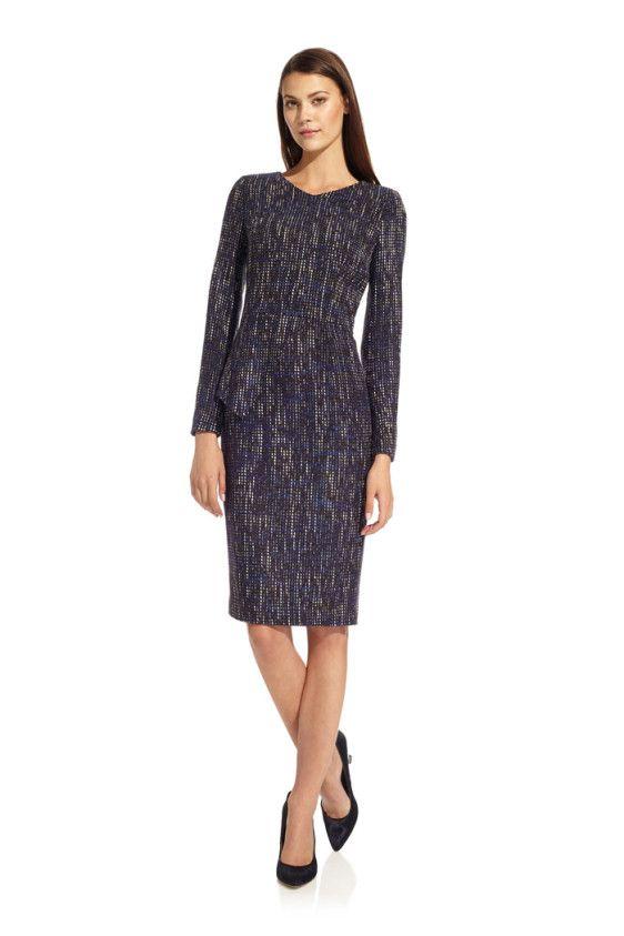 The Fold Eaton Smart Dress Blue Tweed Front.