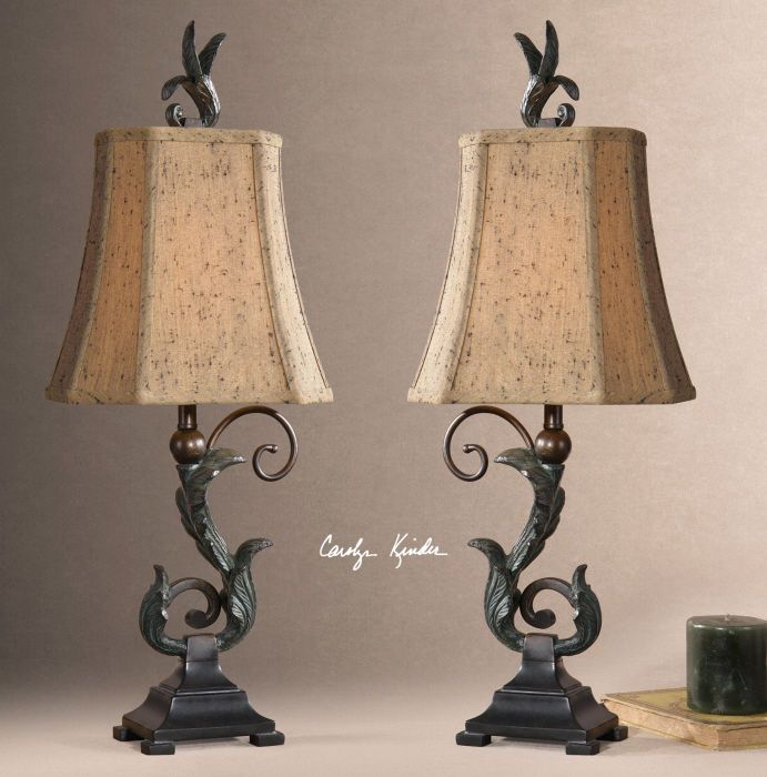 Set/2 Acanthus Scroll Leaf Table Lamps Matte Black Verdigris Pair Tuscan New #na #Mediterranean