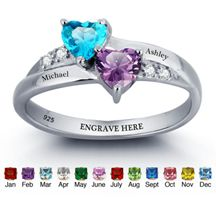 Beautiful 925 Sterling Silver Personalized Couples names & birthstones ring from Charis Jewelry, Shop Online at www.charisjewelry.co.za Delivery to any area! #personalized #couples #rings