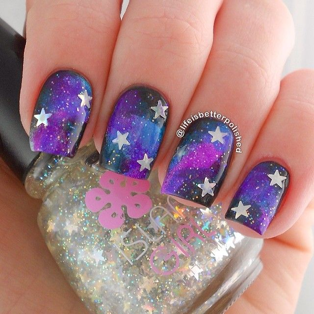 Black and Purple Galaxy Star Nails. - 130 Best .OBSESSED : IG @withlovekarissa (LIFEISBETTERPOLISHED