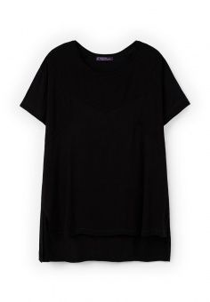 Футболка Violeta by Mango, цвет: черный. Артикул: VI005EWKYK08. Женская одежда / Футболки и поло / Футболки с коротким рукавом