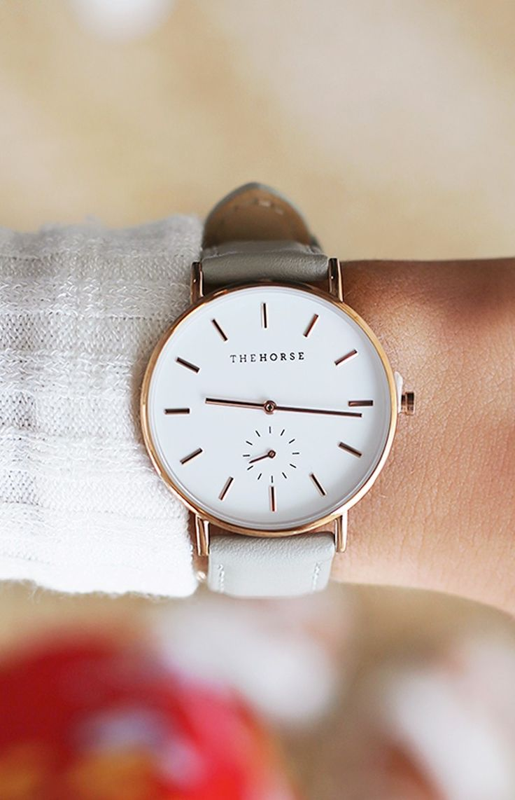 Classic Rose Gold Grey Leather Wrist Watch
