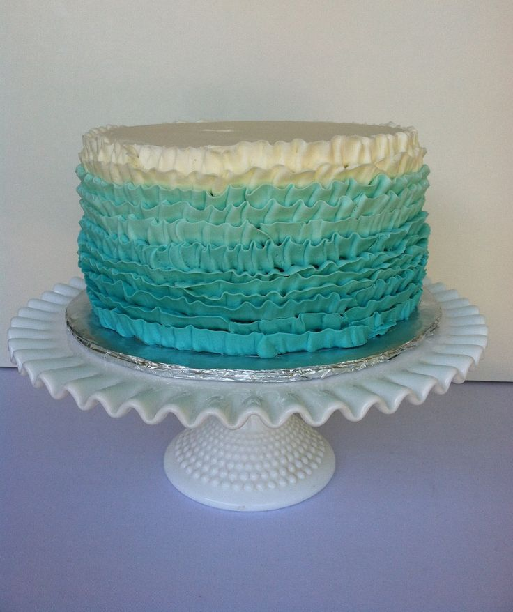 Buttercream Ruffle Cake Decorating : Teal Buttercream Ruffle Cake: Lemon Cake ideas ...