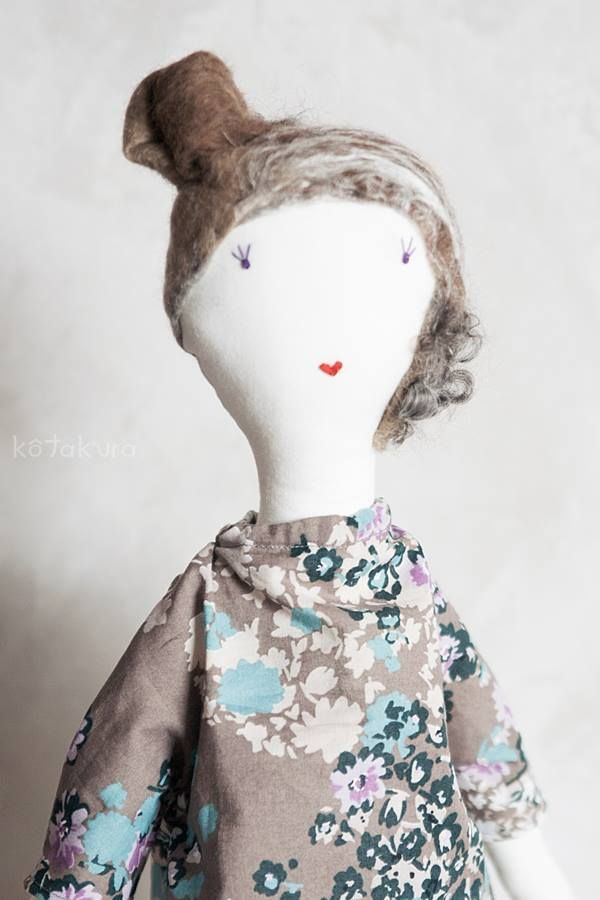 Handmade doll with felted hair (merino wool and silk)
