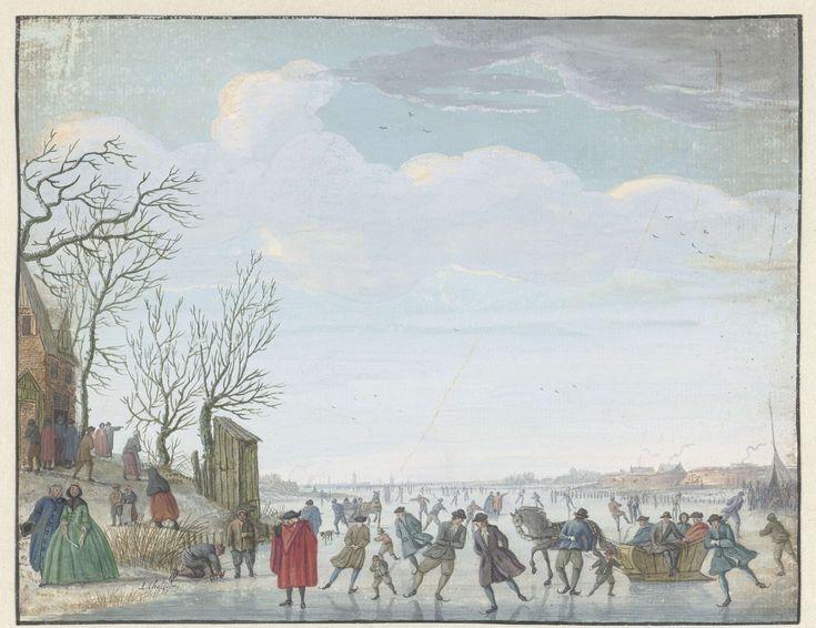 Winterlandschap met ijsvermaak, Louis Chalon, 1737