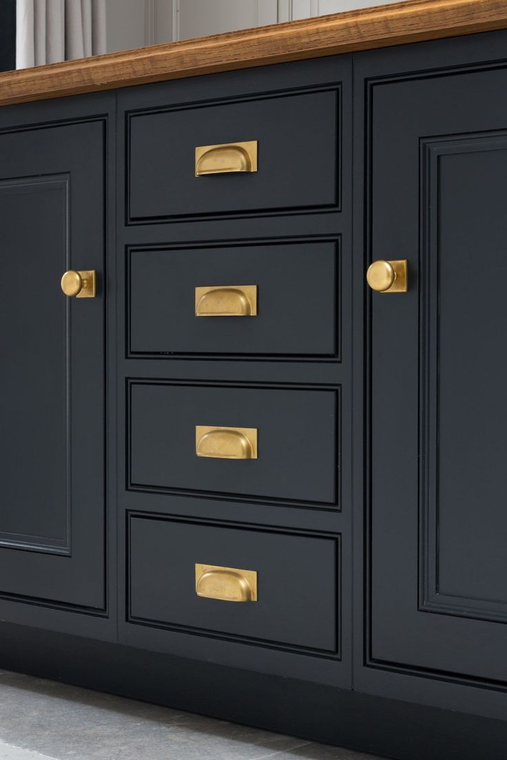 Elegant Black Cabinet with Drawers