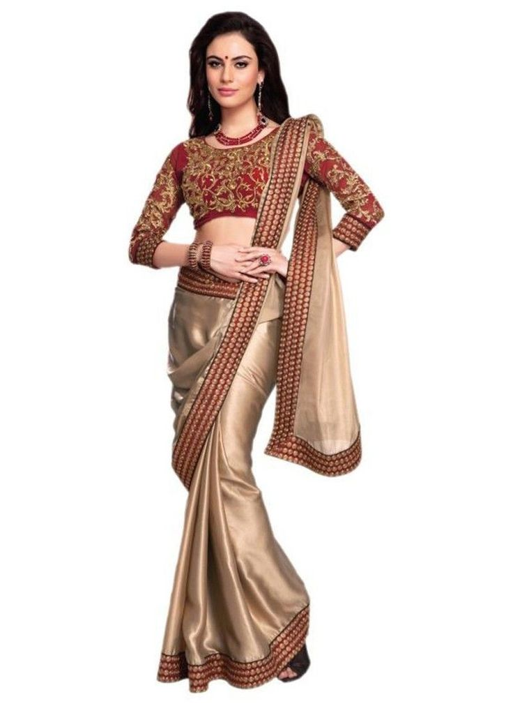 Appealing Gold And Brown Coloured Silk Border Indian Designer Saree At Best Price By UttamVastra - Try Something New Today