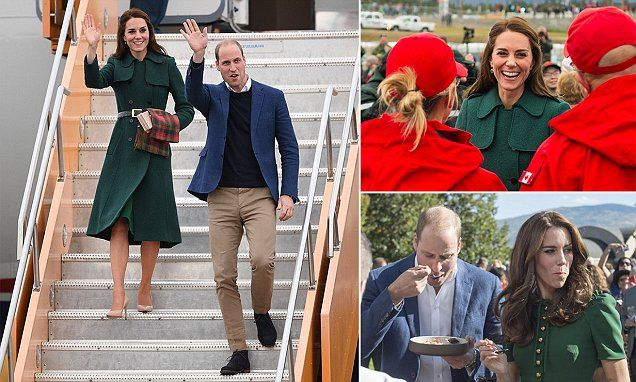 Kate wraps up in thick green Hobbs coat and Maple Leaf scarf