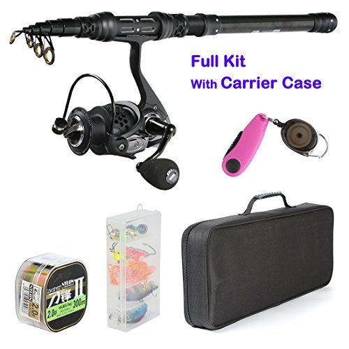 """Palm Fishing Spinning Rod and Reel Combos - Carbon Fiber Telescopic Fishing Rod with Reel Combo Line Lures Hooks and Fishing Carrier Bag Case Accessories - for Saltwater Freshwater  https://fishingrodsreelsandgear.com/product/palm-fishing-spinning-rod-and-reel-combos-carbon-fiber-telescopic-fishing-rod-with-reel-combo-line-lures-hooks-and-fishing-carrier-bag-case-accessories-for-saltwater-freshwater/  FISHING FULL KIT BAIT DETAILS:We provide""""Fishing Full Kit """": 1"""