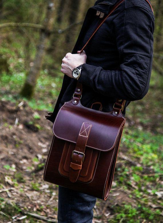 """La bolsa de mensajero para hombre, de cuero marrón hecho a mano Cross Body Bag 13 """""""
