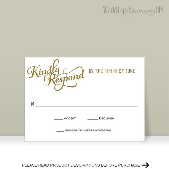 RSVP cards Printable Wedding RSVP cards by WeddingstationeryDIY