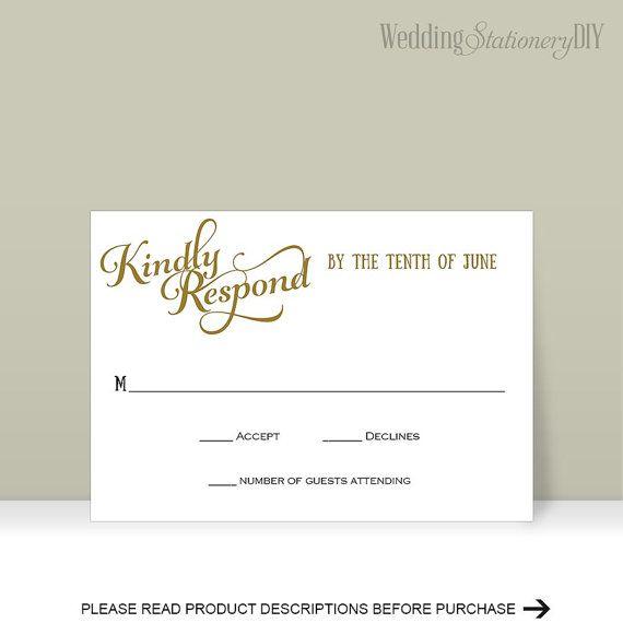 RSVP cards Printable Wedding RSVP cards by WeddingstationeryDIY