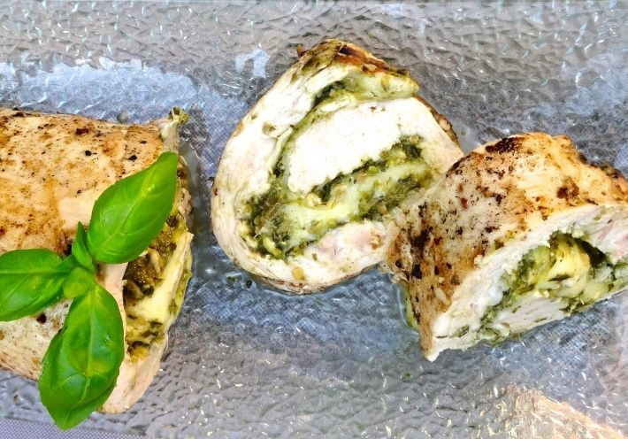 Sous Vide Pesto and Mozzarella Chicken Roulade