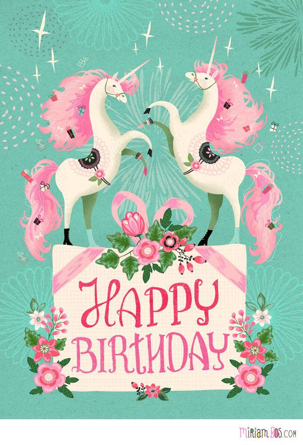 Design is available as a birthday card at a speciality grocer in the USA. Design by Miriam Bos. #unicorns !