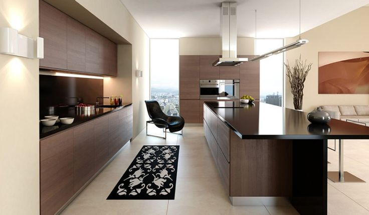 Kitchen Minimalist Kitchen Features Rich Wood Kitchen Cabinet And Island Breakfast Bar Also Dark Countertops Plus Dark Backsplash Besides Black Floral Pattern Ornament And Black Molded Armchair With Cooktop Also Modern Range Hood Plus Floor To Ceiling Windows Enchanting Luxury Kitchen Design in Any Styles