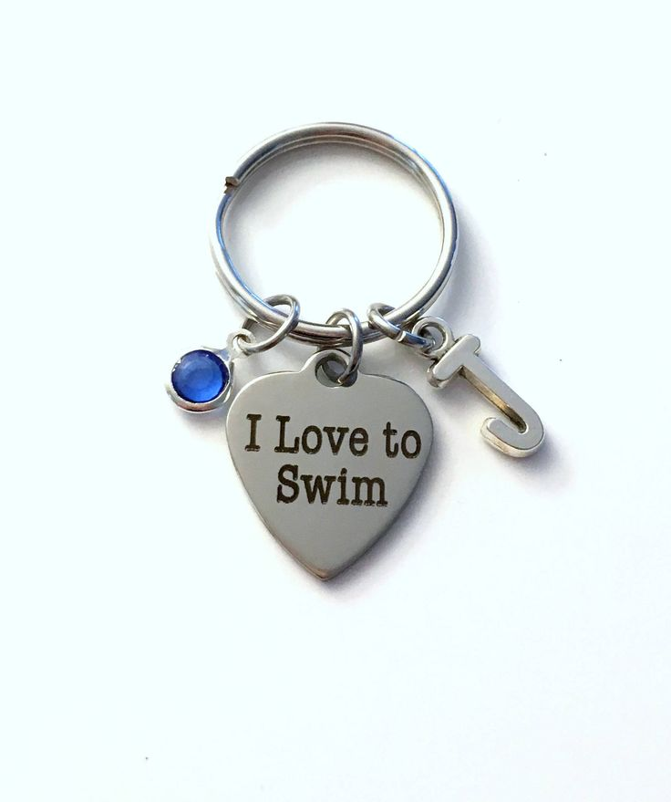 I love to Swim Keychain, Gift for Swimmer Key Chain, Letter Initial Him Her Present men Women Athlete Synchronized Pool Water Teen Boy Girl by aJoyfulSurprise on Etsy