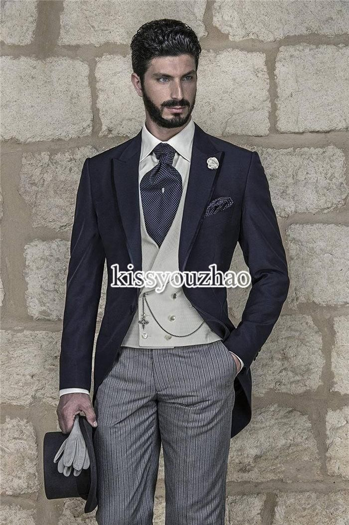 Suit Vest Morning Style Navy Blue Slim Fit Groom Tuxedos Peak Lapel Groomsmen Best Man Mens Wedding Suits Blazer Prom ClothingJacket+Pants+Vest+Tie Tux Tails From Kissyouzhao, $77.91| Dhgate.Com