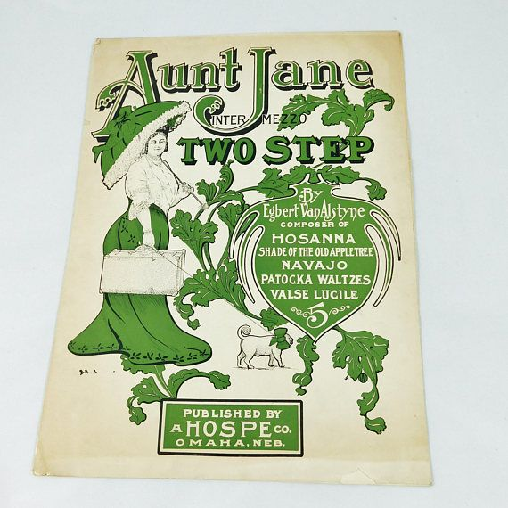 Antique Sheet Music from 1905 AUNT JANE Intermesso Two