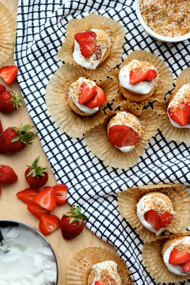 Gluten-Free Dairy-Free Angel Food Cupcakes with strawberries and coconut cream