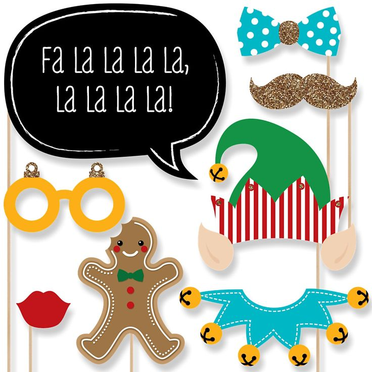 Christmas Elfie Selfie - 20 Piece Christmas Party Photo Booth Props Kit | BigDotOfHappiness.com