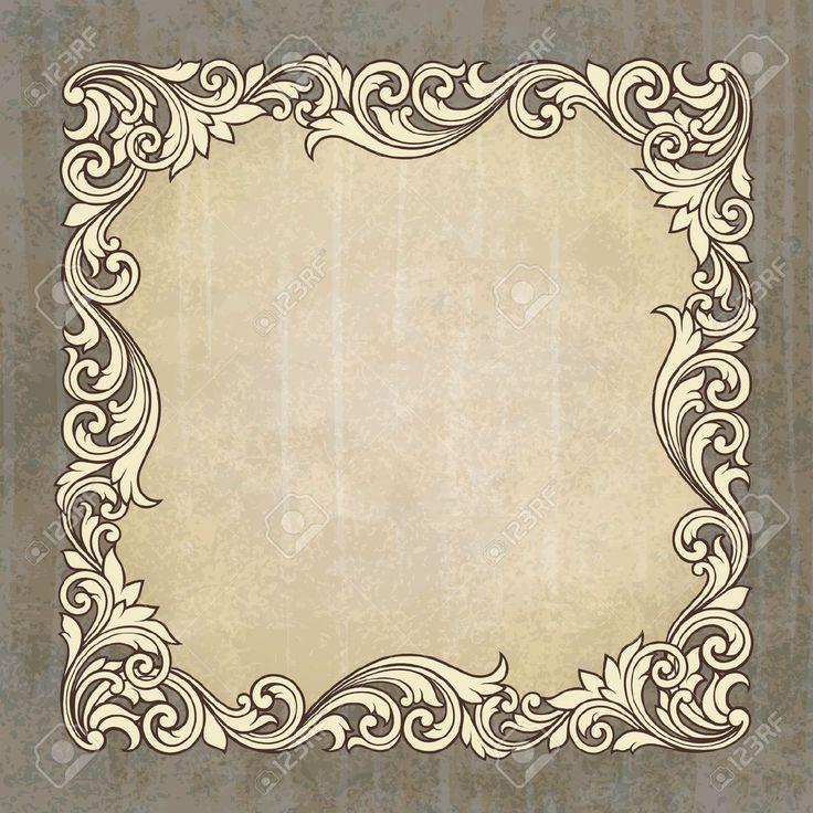 Vintage Border Frame Gravieren Auf Grunge Hintergrund Mit Retro-muster Im Antiken Barocken Stil Dekorative Gestaltung Einladungskarte Lizenzfrei Nutzbare Vektorgrafiken, Clip Arts, Illustrationen. Pic 14667018.