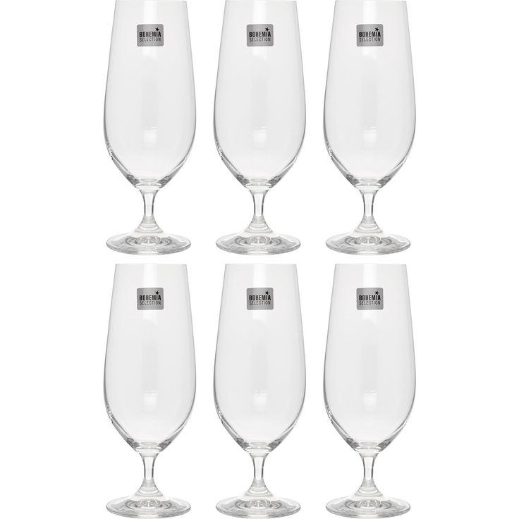 """Bohemia Selection"" Set of Six Goblet Beer Glasses - TK Maxx"