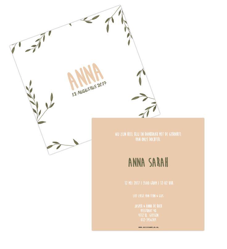 geboortekaartje, birth announcement, geboren, kaartje, huisvanmijn, webshop, zelf kaartje maken, meisje, bloemen, roze, geboortekaart