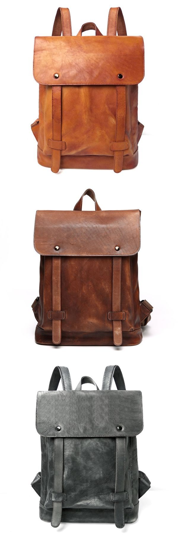 The Cooper Vintage Leather Backpack is crafted in an old-fashioned, preppy school bag style. This vintage backpack is made of high-quality genuine leather, giving it a unique vintage look. With many compartments, this cool vintage backpack fits a 15-inch laptop and can carry everything you need for your everyday use in an orderly fashion. The Cooper vintage leather backpack would be great as a laptop bag for school, college, work and everyday use.