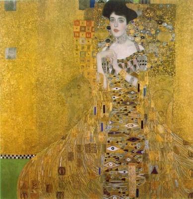 Klimt - Model Adele Bloch-Bauer, (1881-1925), zur Zeit der Enstehung des Bildes 26jährig, war die Frau des Wiener Industriellen Ferdinand Bloch und mit ziemlicher Sicherheit Klimts Geliebte. Sie war die einzige, die er zweimal portraitierte, und stand außerdem für das Bild Judith1 Modell.