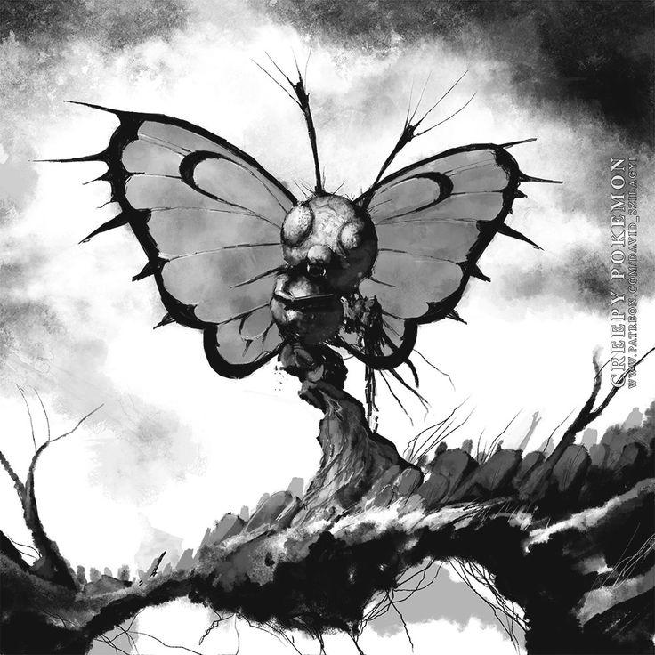 ArtStation - Creepy Pokemon: 012 Butterfree, David Szilagyi
