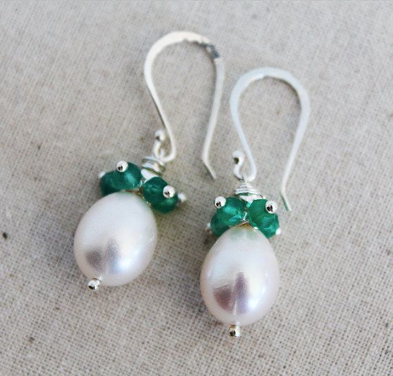 Emerald Gemstone Earrings  Pearl and Emerald Jewelry by karioi, $165.00