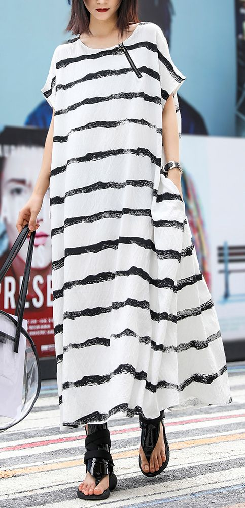 Vivid o neck pockets linen cotton dress Photography white striped Dresses summer