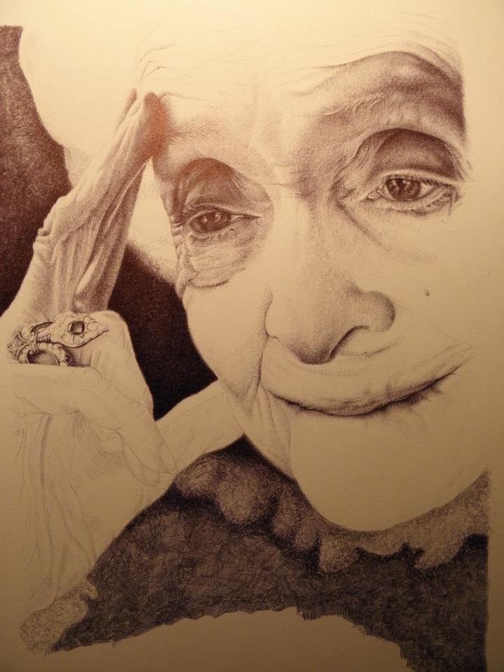 Rita Levi Montalcini disegno a BIC su carta, 24x33cm Roma 2011