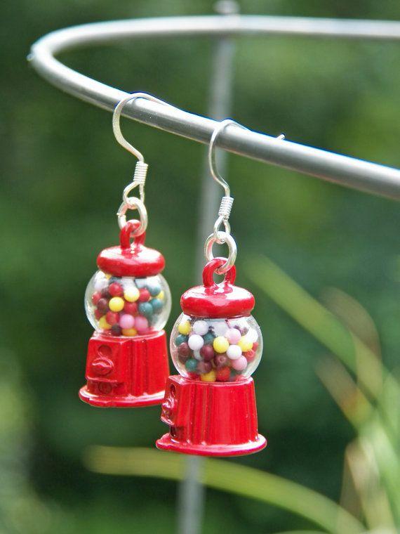 Miniture Food Earrings, Fun Earrings, Gum Ball Machine, Toy Earrings, Fun Jewelry, Teen Earrings, Womens Jewelry, Candy Earrings, on Etsy, $13.00