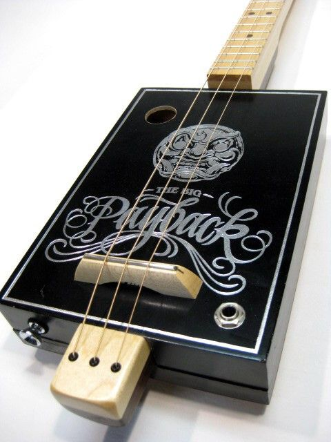 The Big Payback 3 string cigar box guitar