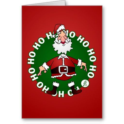 Santa Claus says Ho Ho Ho for Christmas Card. #Zazzle #Christmas #Tekenaartje