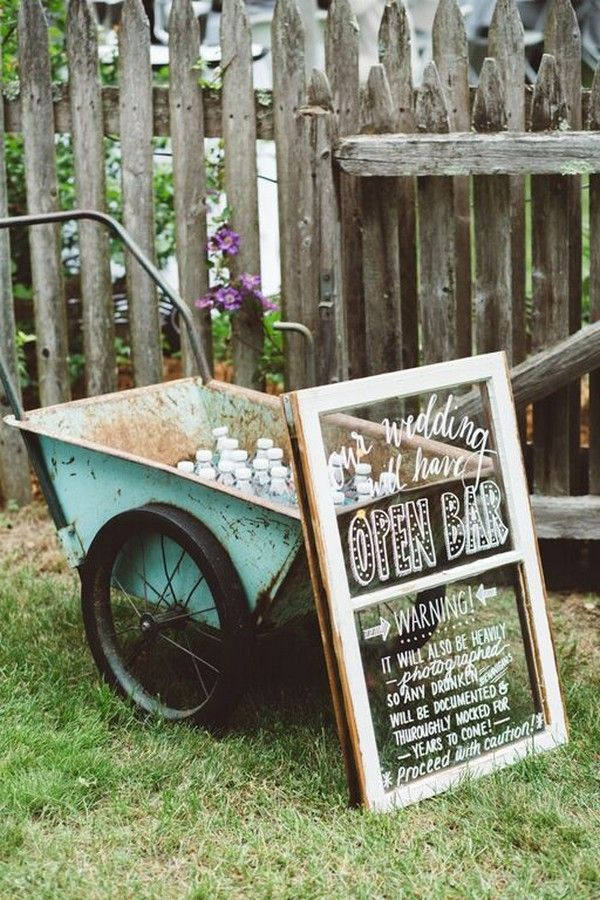 Rustic Open Bar Sign / http://www.deerpearlflowers.com/country-rustic-wedding-ideas-and-themes/
