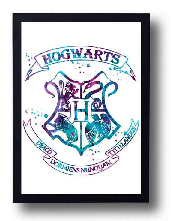 Hogwarts Watercolor Art Print Harry Potter watercolor Hogwarts School Crest…