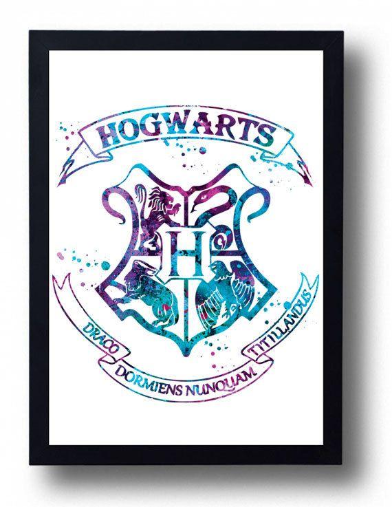 Hogwarts Watercolor Art Print Harry Potter watercolor Hogwarts School Crest…