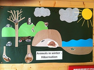 adorable hibernation display with the use of outside items