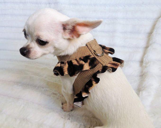 Soft Feminine Animal Print Harness, Leather Dog Harness, Small Dog Harness, Small Pet Harness, Fancy Dog Harness, Animal Friend Harness