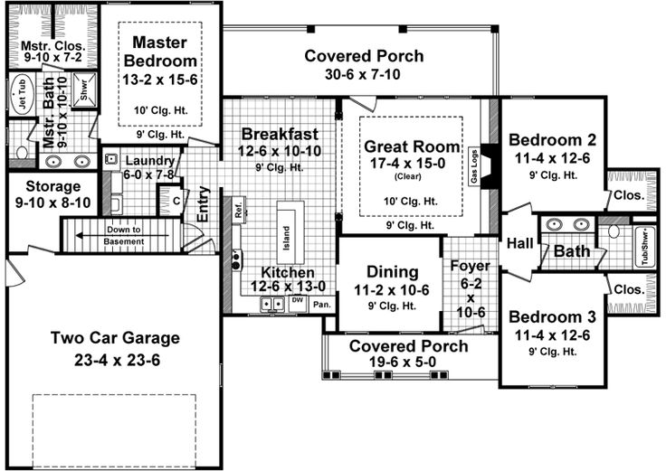 First Floor Plan Of Country Craftsman House Plan 59027