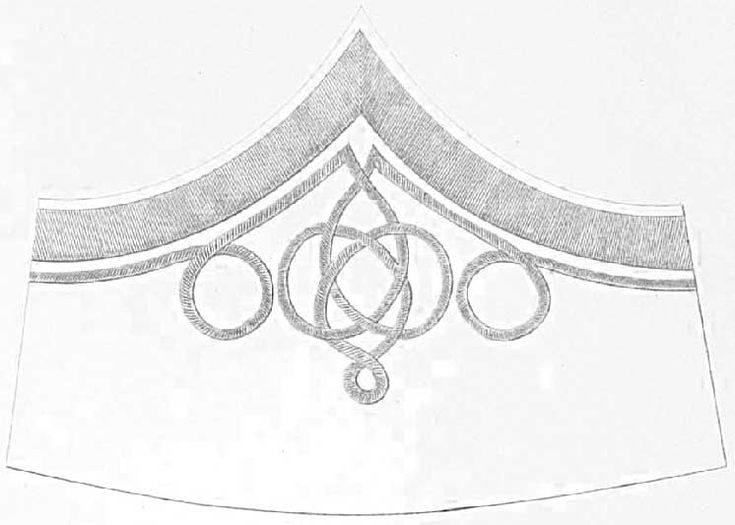 Шитье на воротник (1) и обшлага (2 - спереди и 3 - сбоку) на виц-мундиры штаб- и обер-офицеров русских армейских гусарских полков, имеющих шефами членов императорских и королевских фамилий.