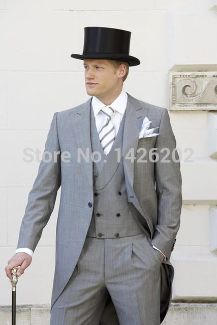 テイルコートグレー2015新郎の摩耗の男性の結婚式のスーツつのボタンズボンのデザインロングコートternosmasculinom-0273結婚式の新郎のメンズスーツ