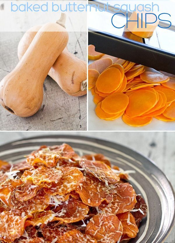 Baked Butternut Squash Chips with Parmesan + 25 Baked Alternatives To Potato Chips And French Fries