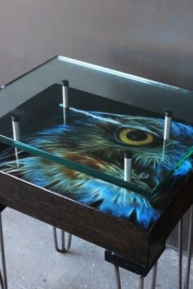 Owl Reclaimed Side Table - Design A