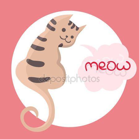 Векторная иллюстрация цвета рука нарисованные эскиз кошки с Мяу текст в облако формы речи пузырь. Мультфильм кошка характер. Векторные иллюстрации —  Векторное изображение © tinkerfrost #158913894