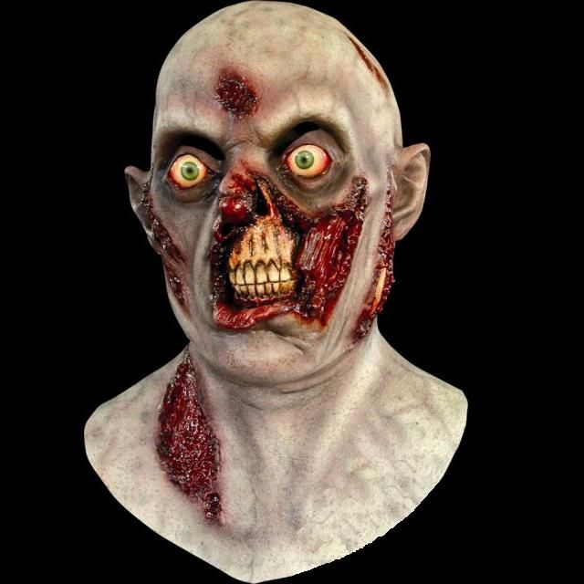 get a classic zombie look without a lot of work this zombie mask covers the full head and is made from high quality latex it has slits for the eyes above
