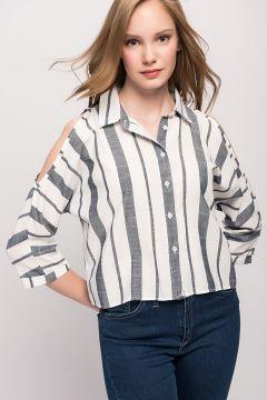 Y-London Kadın Mavi Omuzu Açık Çizgili Gömlek #modasto #giyim #moda https://modasto.com/y-ve-london/kadin/br5077ct2