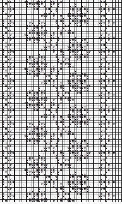 Filet crochet roses on a vine chart